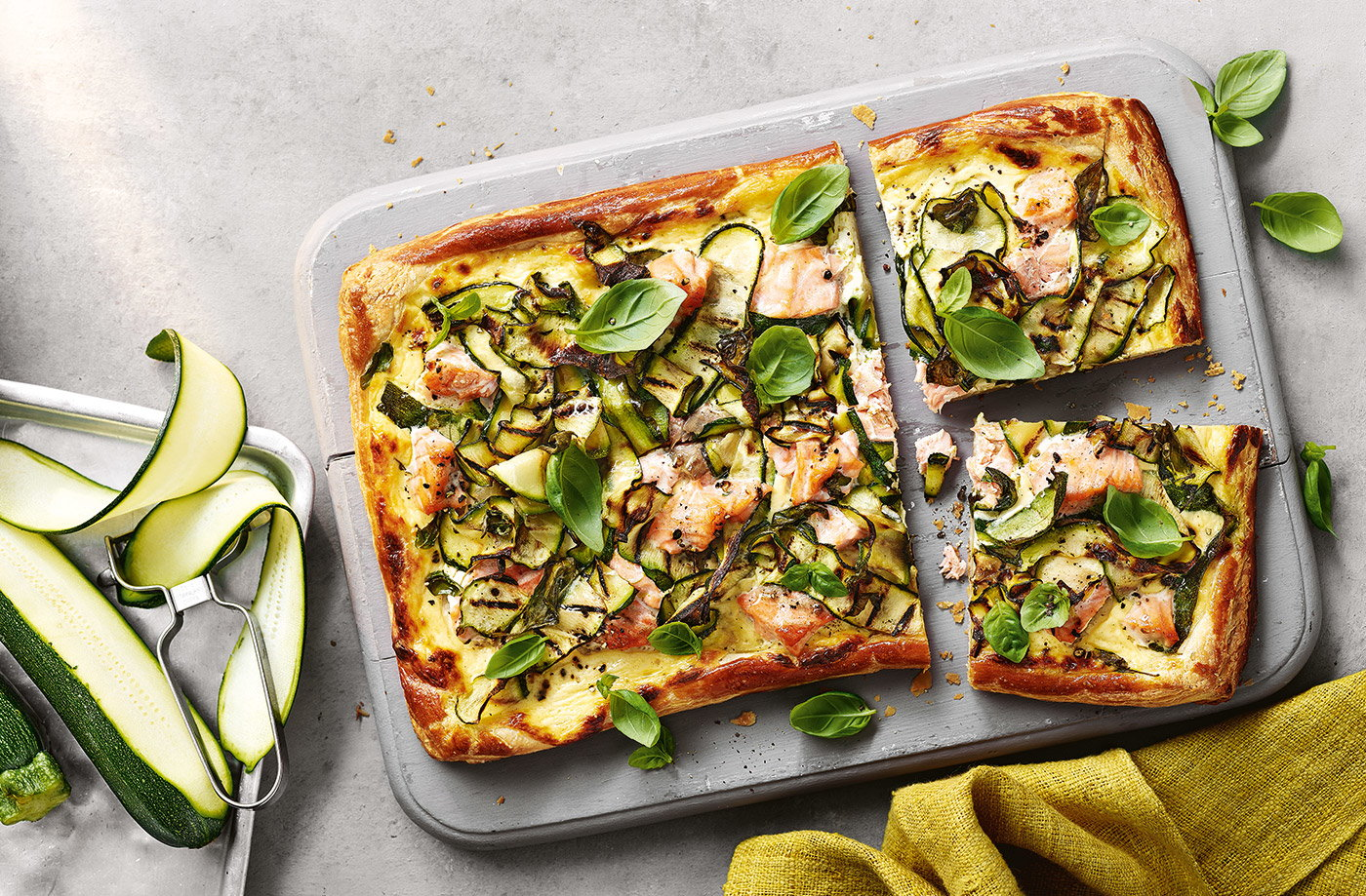 Charred courgette and salmon tart recipe