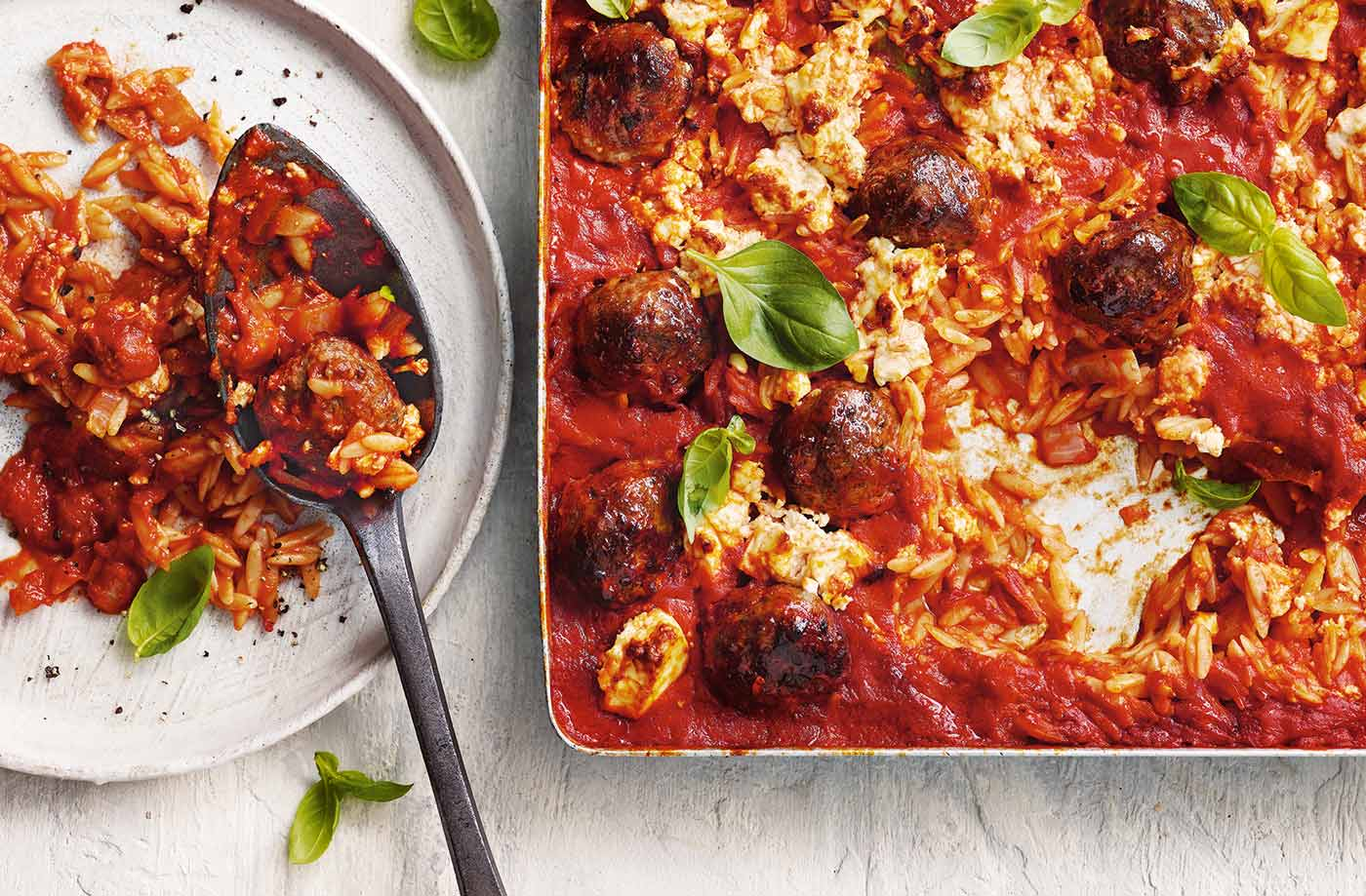 Cheesy meatball traybake recipe