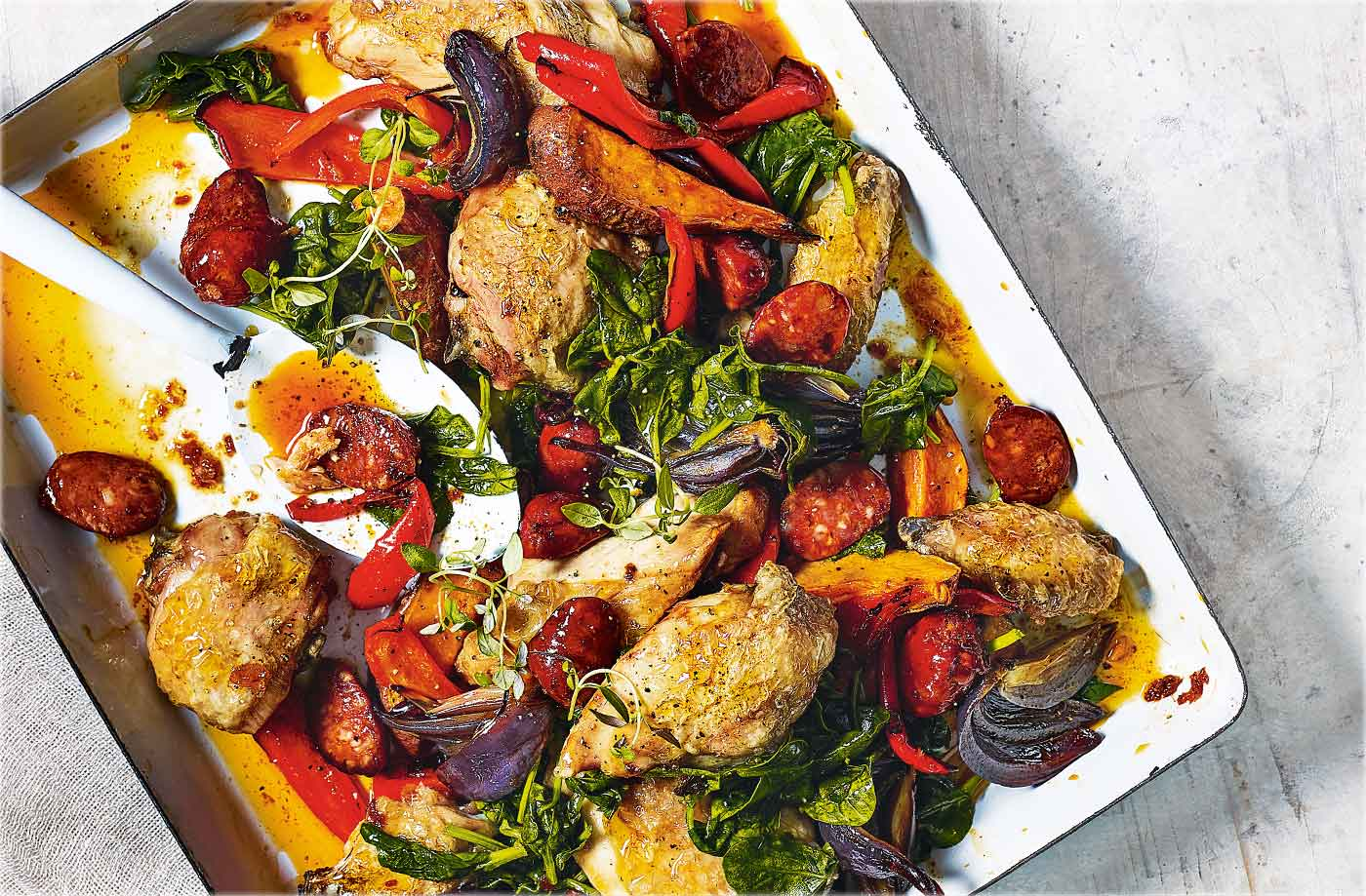 Chicken and chorizo traybake recipe