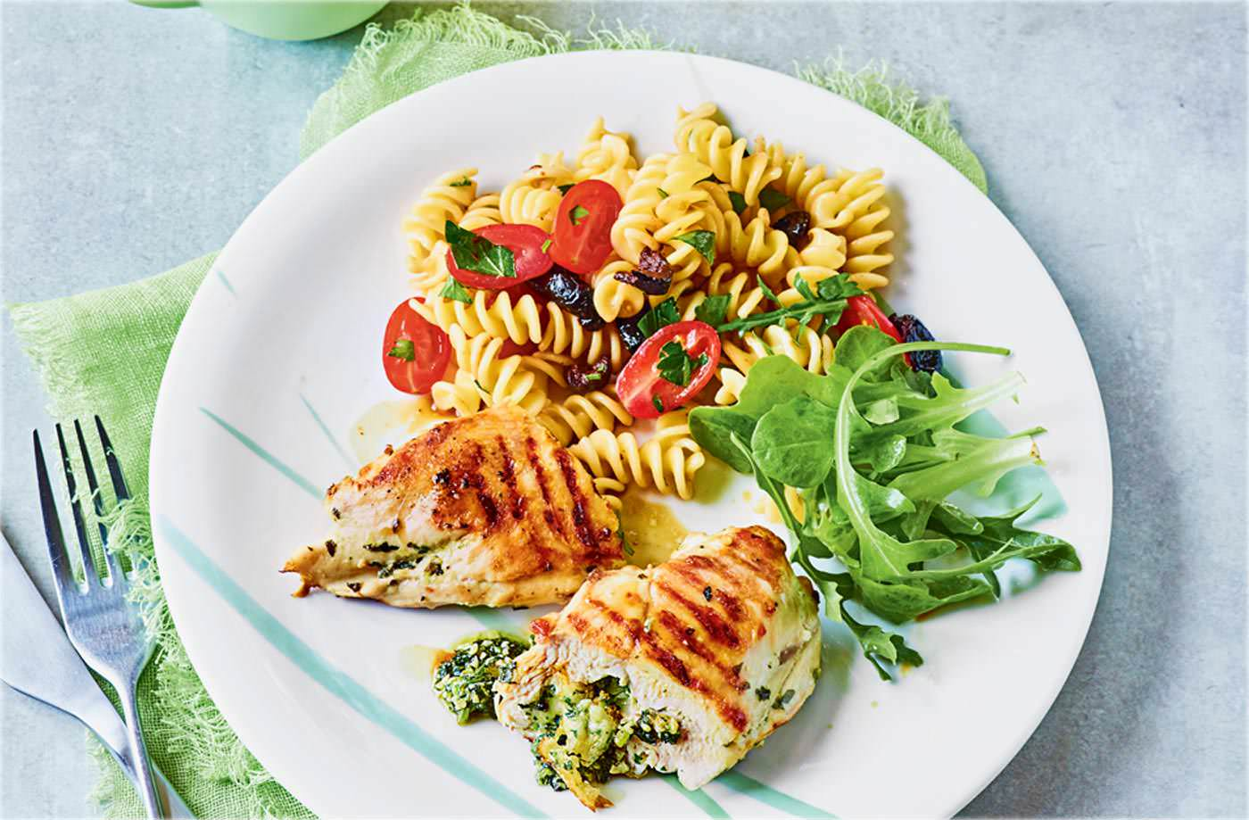 Basil and mozzarella stuffed chicken with pasta salad recipe