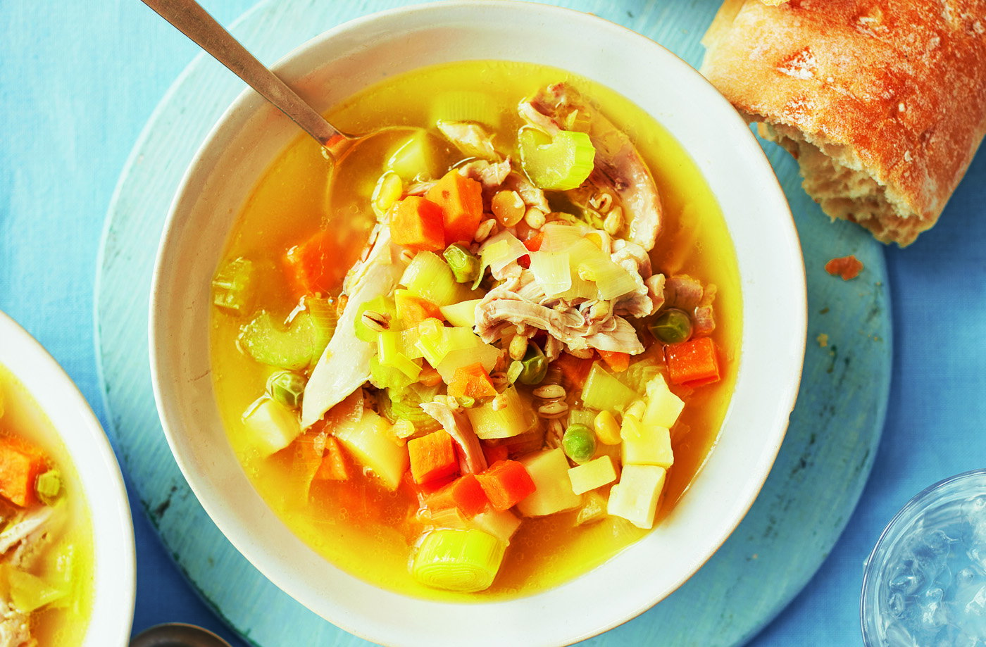 Chicken, root veg and lentil broth recipe