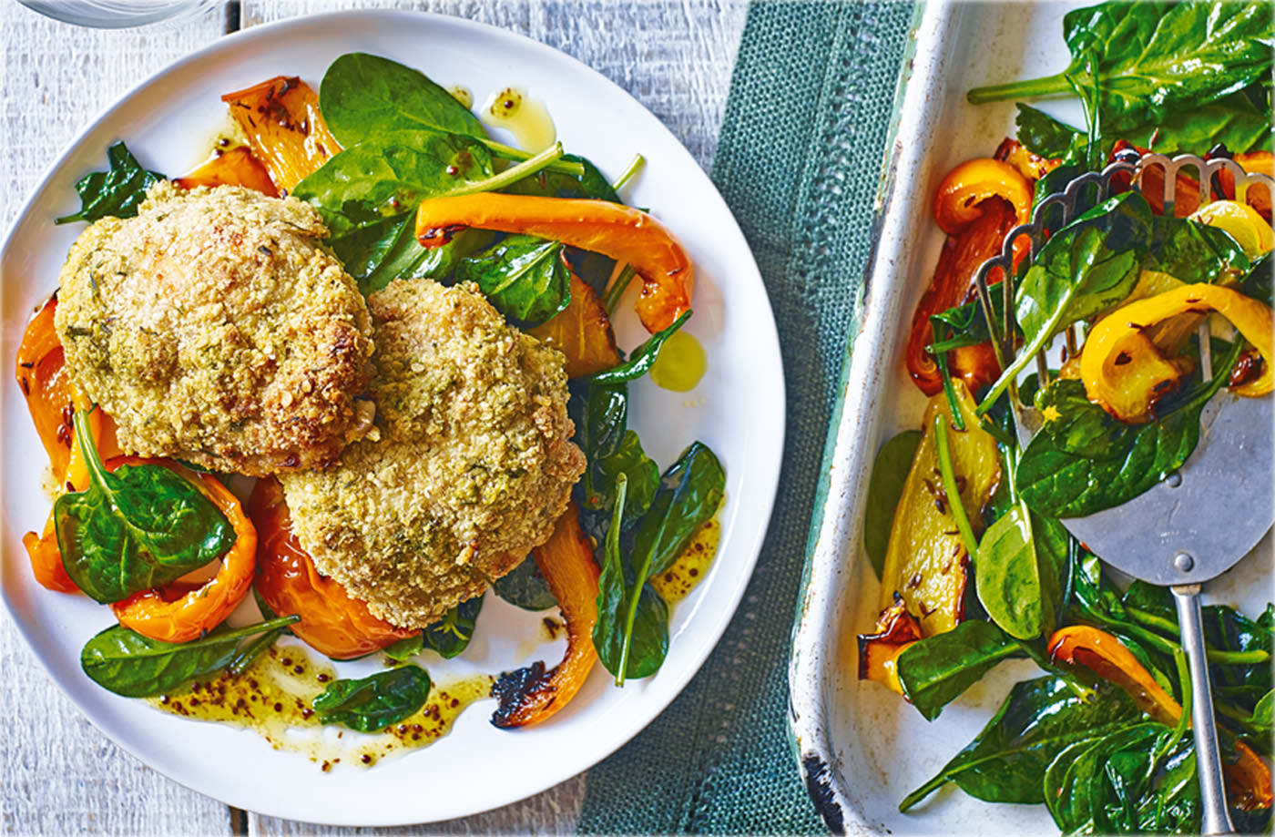 Oat and chive mushrooms with pepper and spinach salad recipe