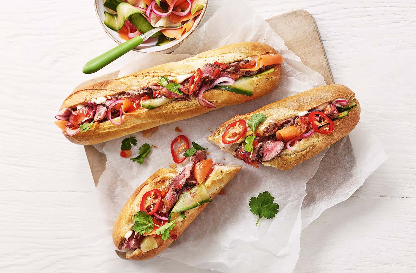 Chilli beef baguettes recipe