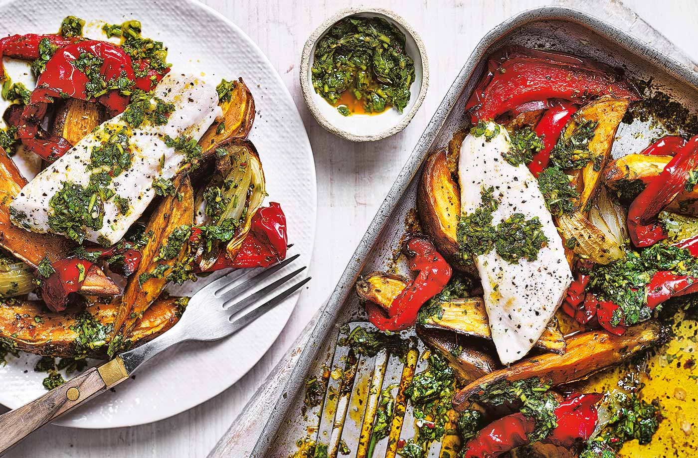 Chimichurri fish traybake recipe
