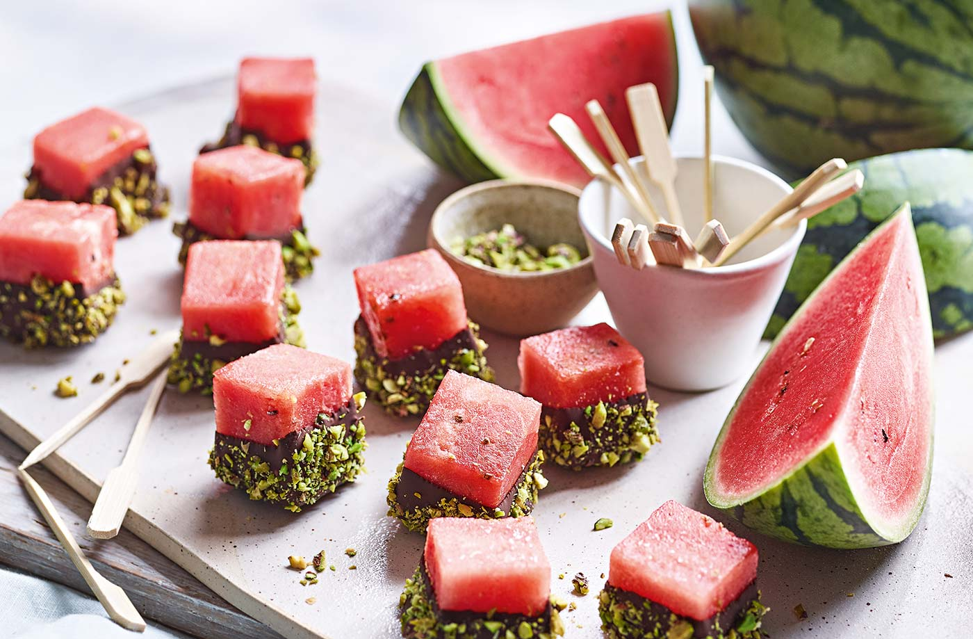 Chocolate-dipped watermelon with crushed pistachios recipe