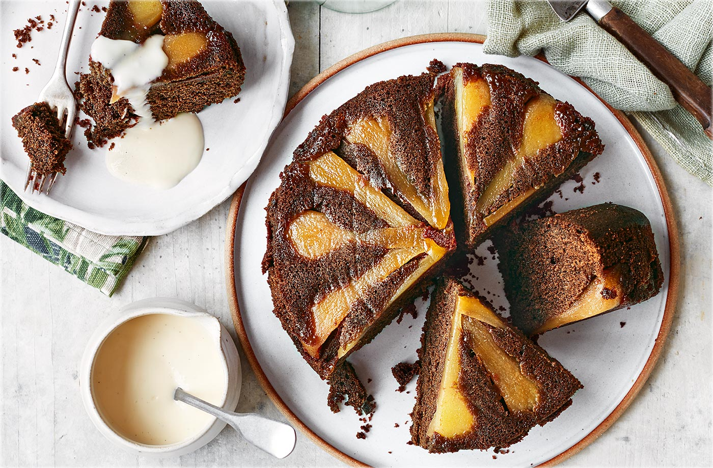 Chocolate and pear upside-down cake recipe