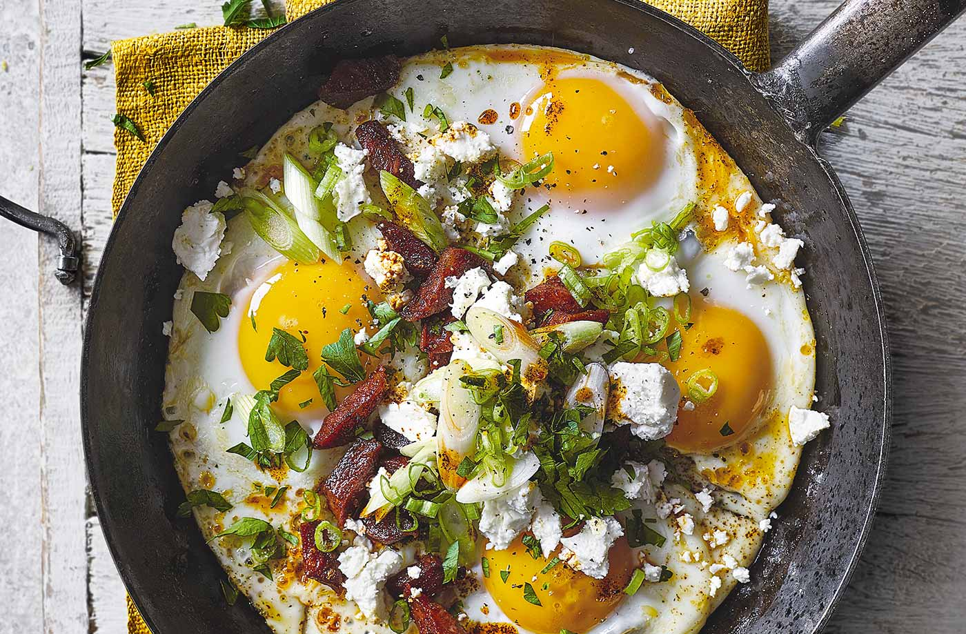 Chorizo and feta eggs recipe