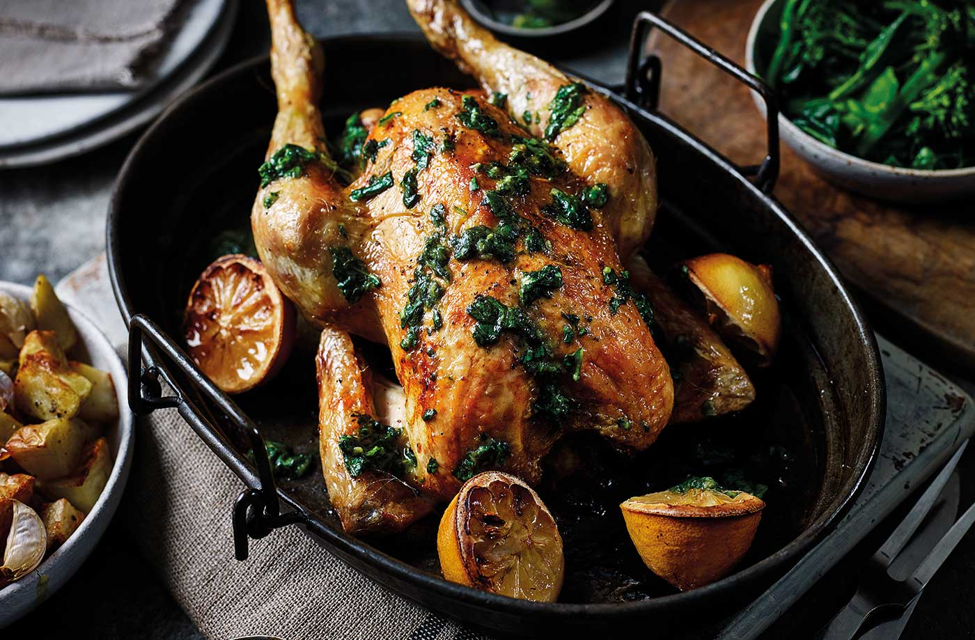 Roast chicken with basil and lemon salsa and garlic potatoes recipe