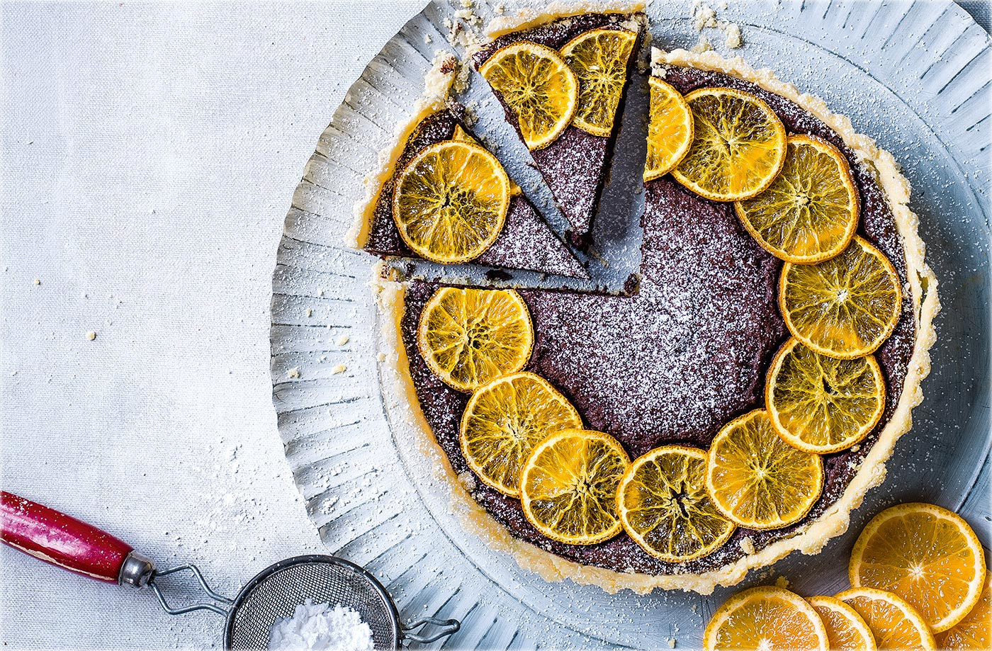 Clementine and chestnut chocolate tart