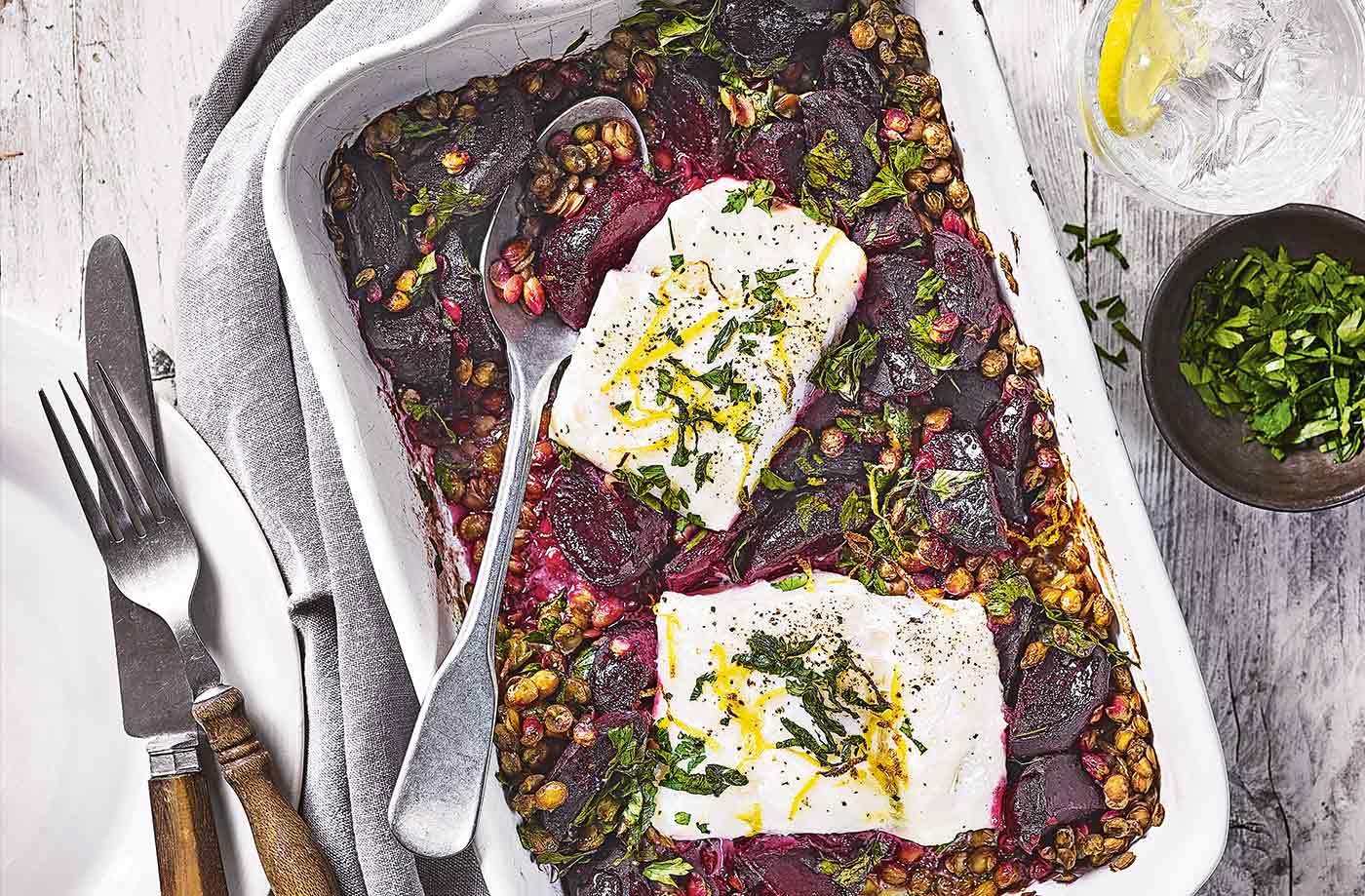 Cod, lentil and beetroot traybake