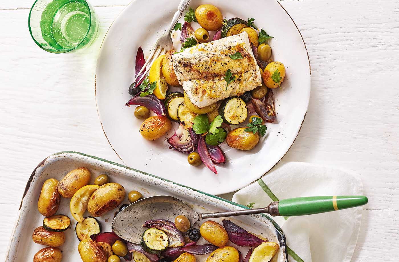 Cod with lemon and olives recipe