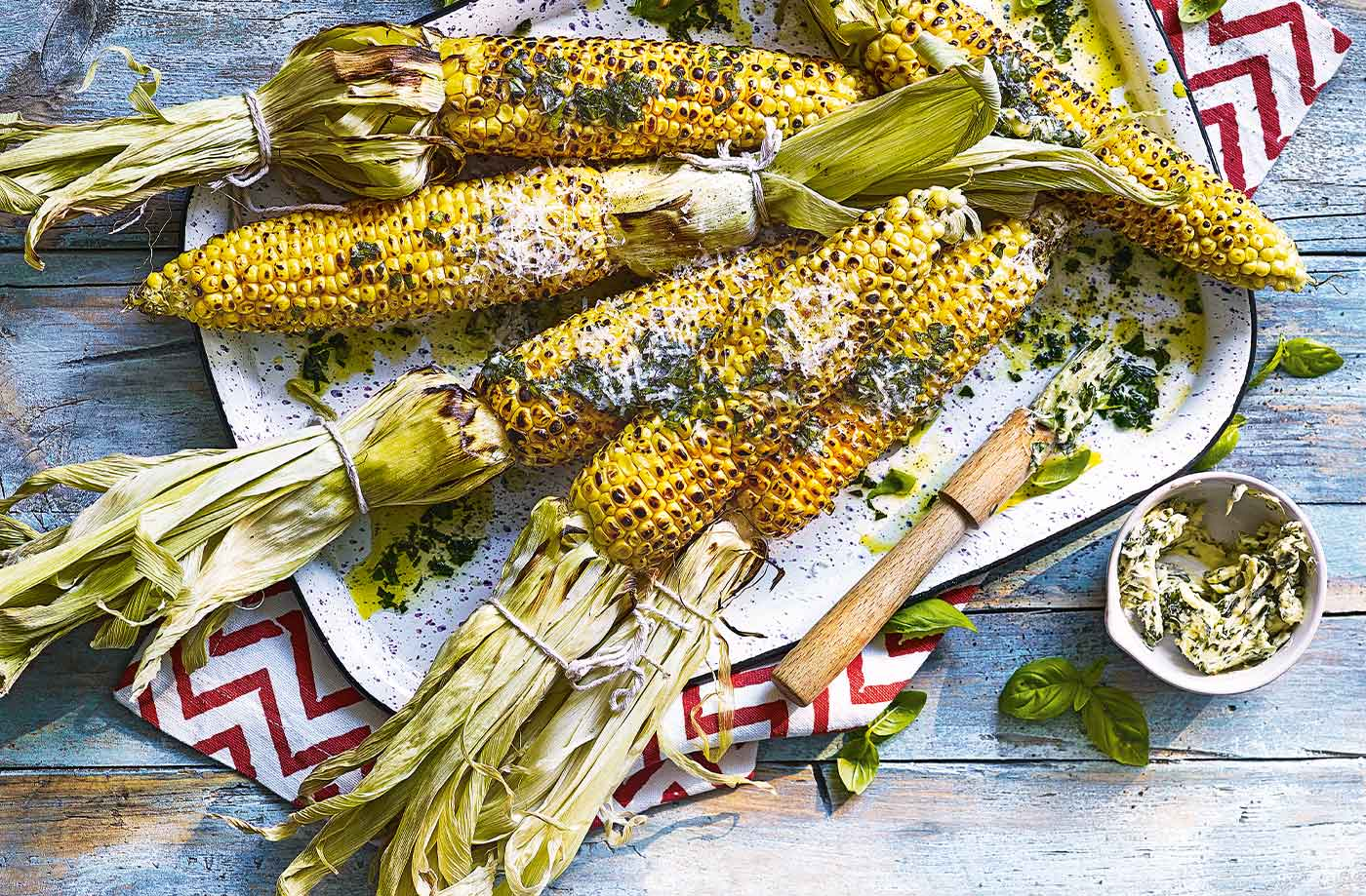 Corn with Parmesan and basil butter recipe