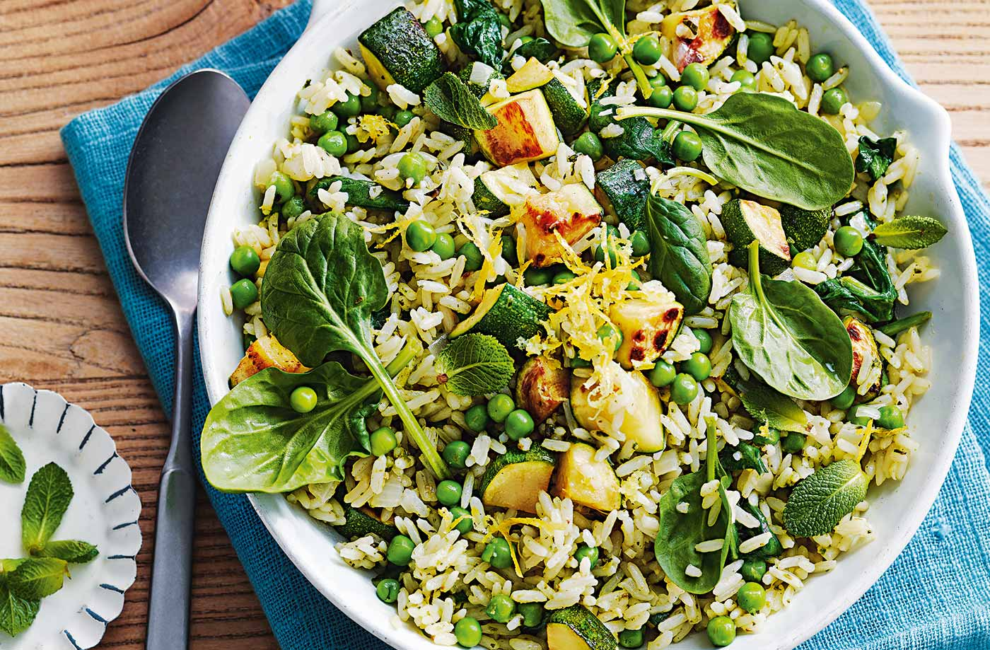 Courgette, pea and lemon pilaf recipe