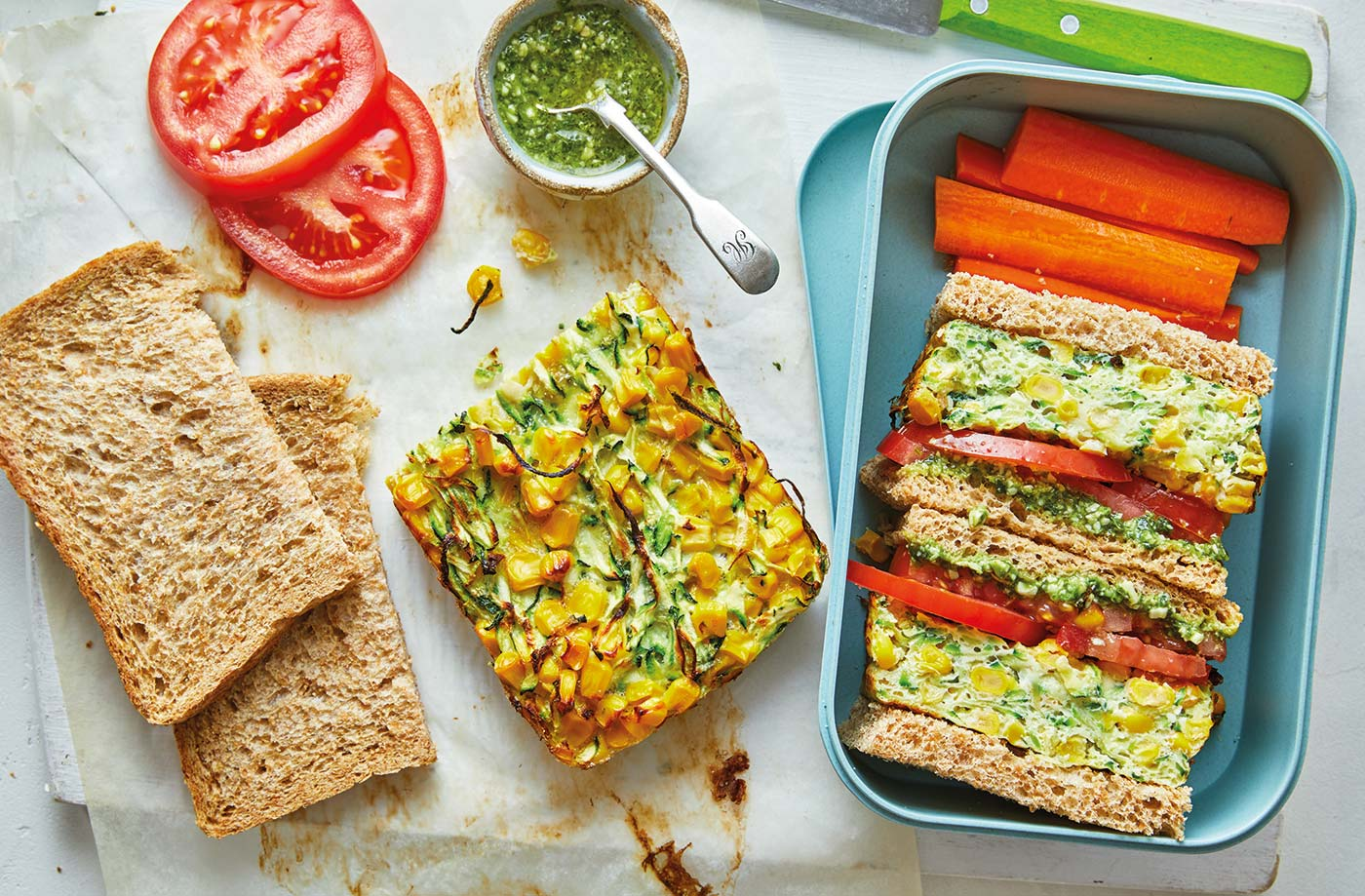 Sweetcorn and courgette frittata sandwiches recipe