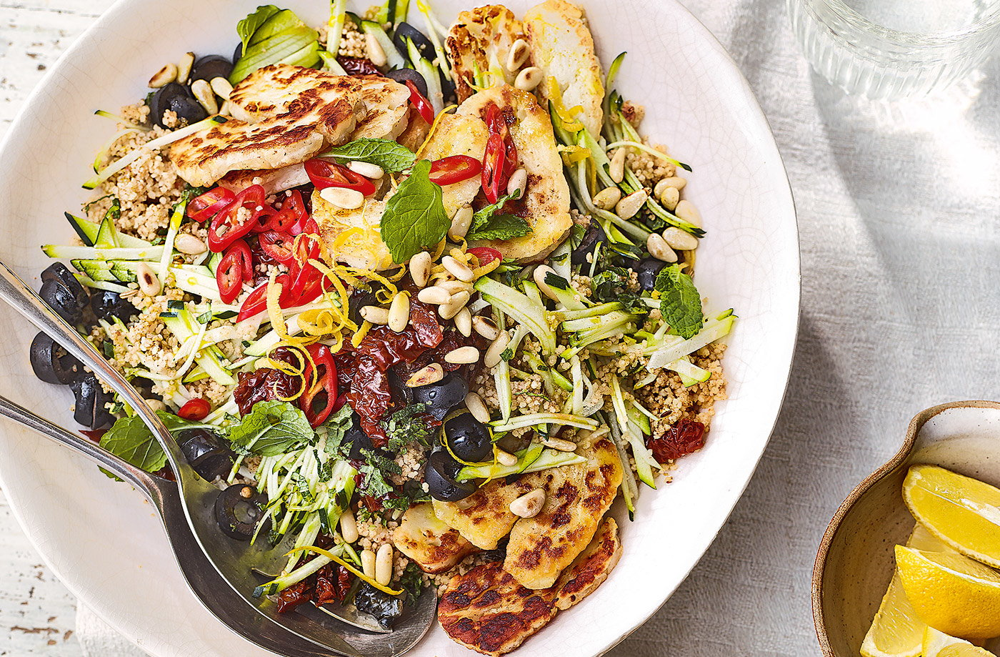 Courgette, couscous and halloumi salad recipe
