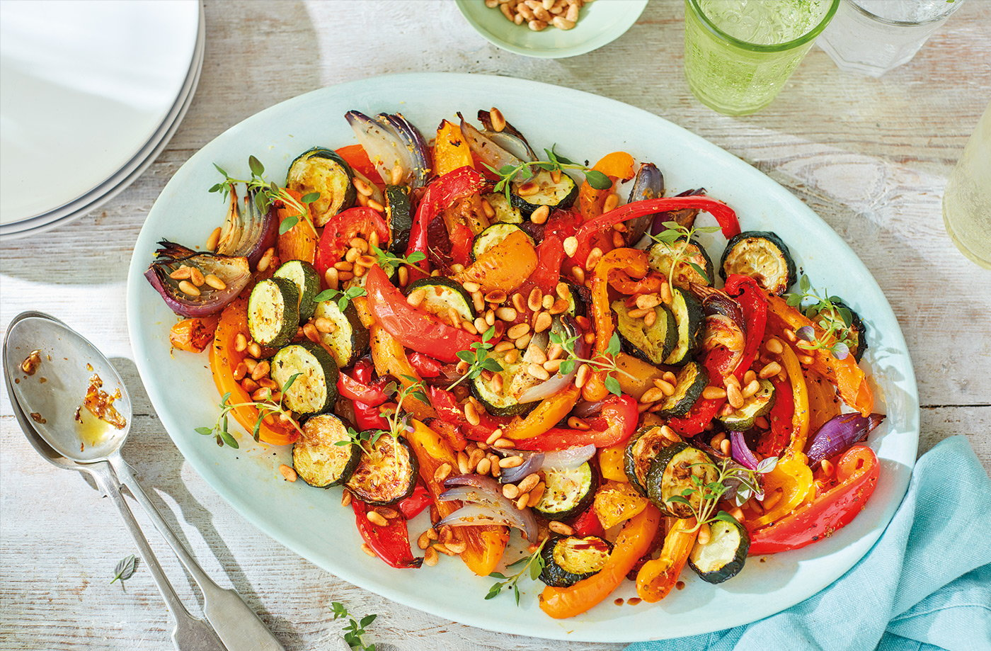 Roasted pepper and courgette salad recipe