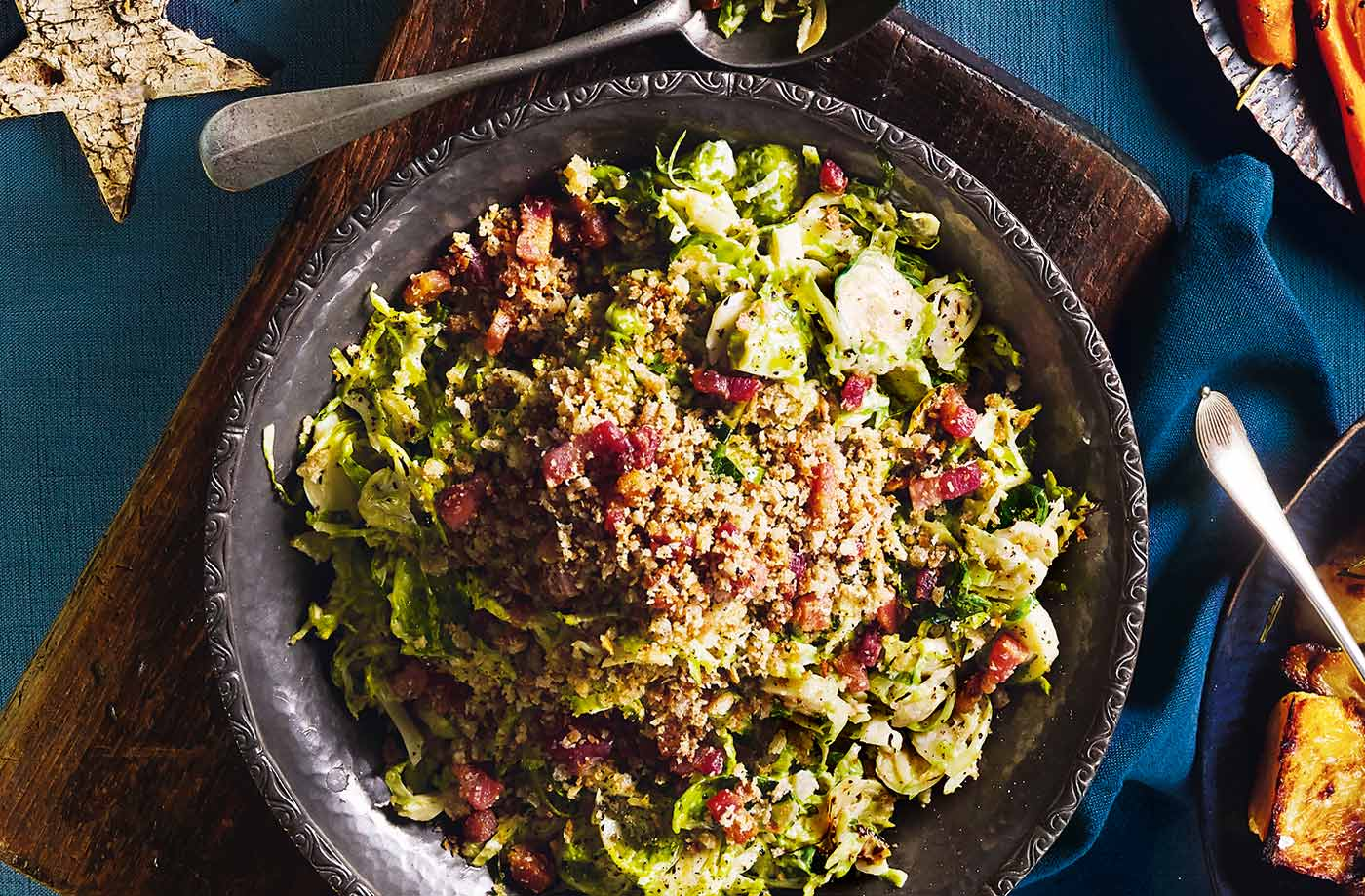 Creamed sprouts with pancetta crumb