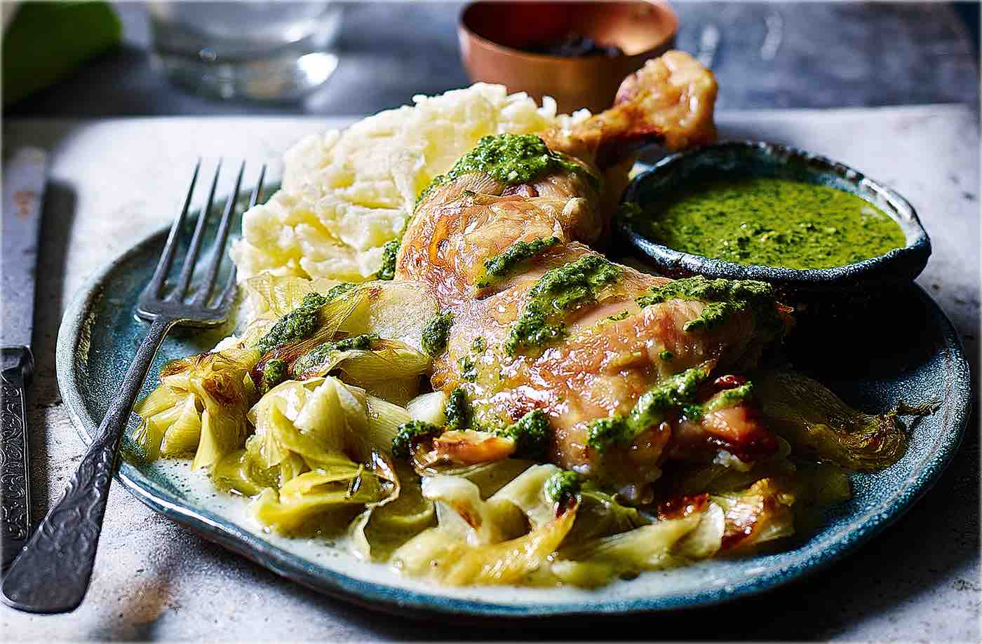 Creamy leeks with roast chicken and salsa verde recipe