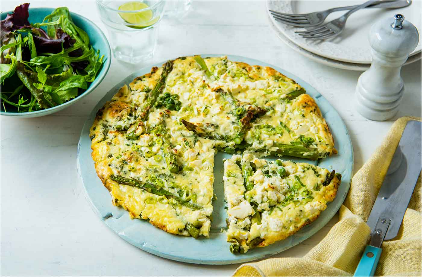 Crustless quiche with asparagus and peas