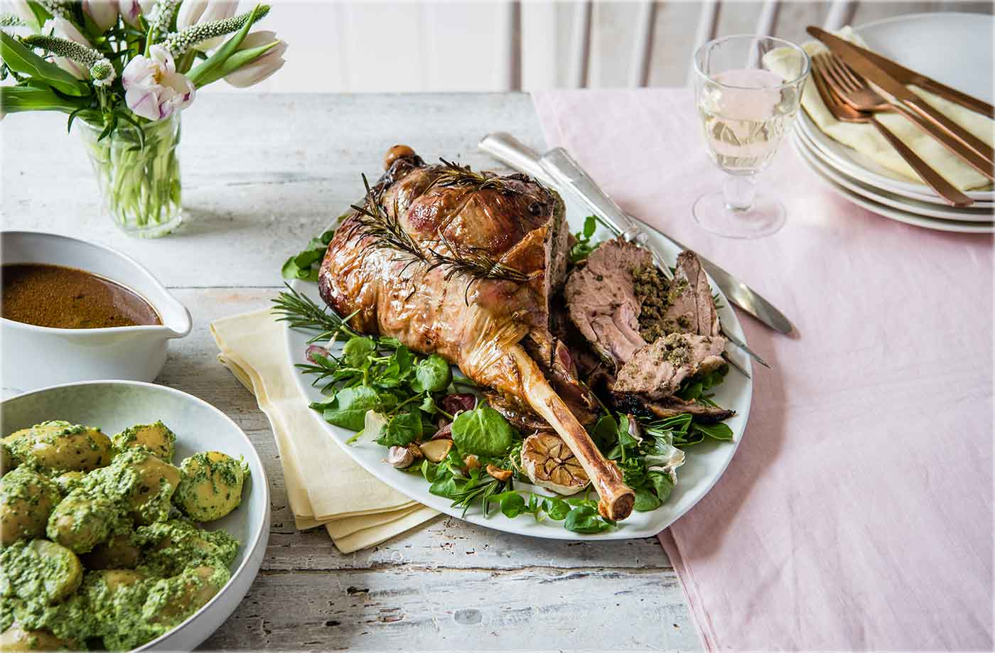 Roast leg of lamb stuffed with watercress and anchovies recipe