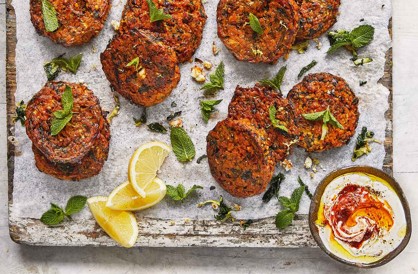 Feta, courgette and spinach cakes