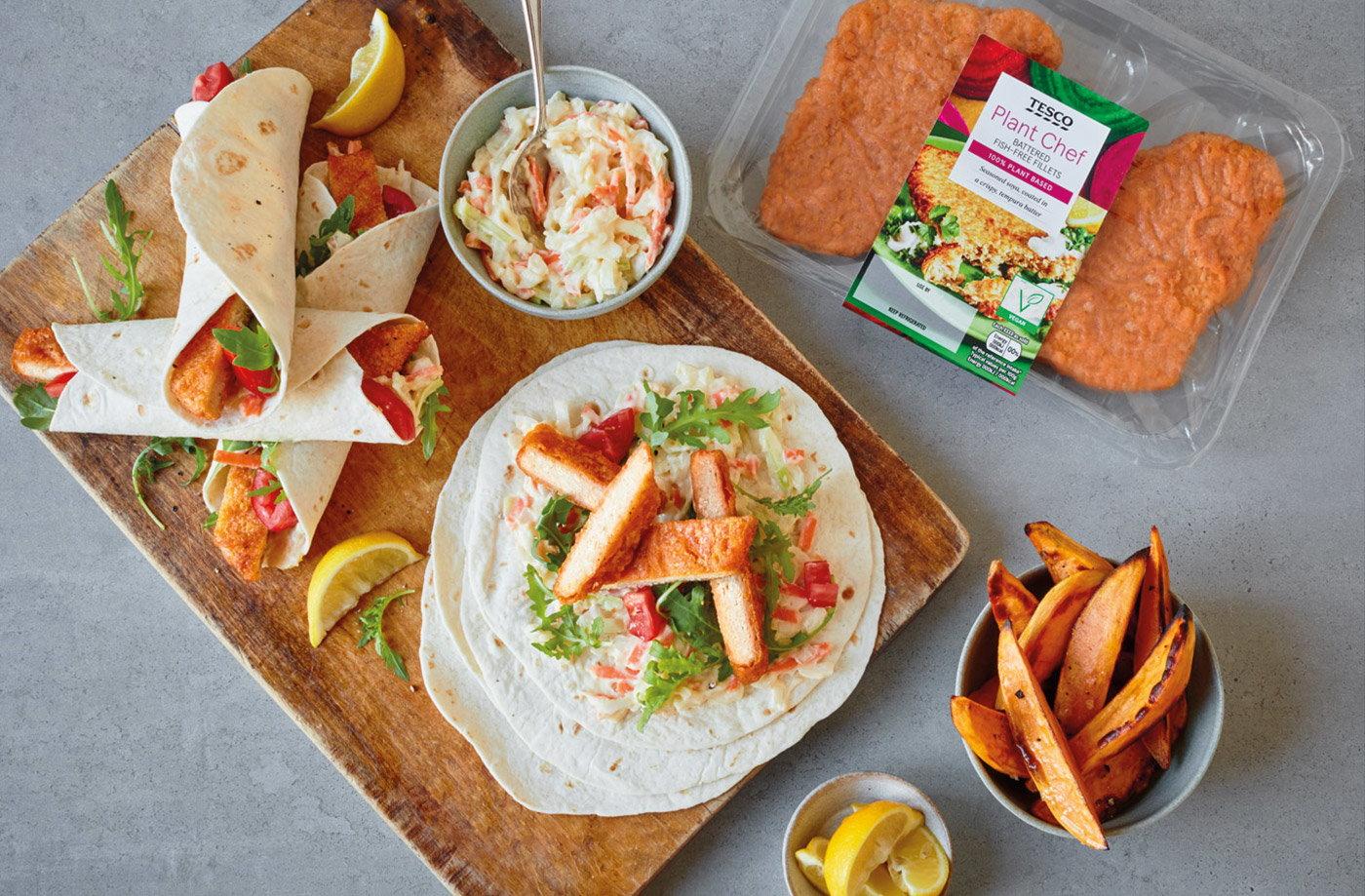 Vegan 'fish finger' wraps   Tesco Real Food