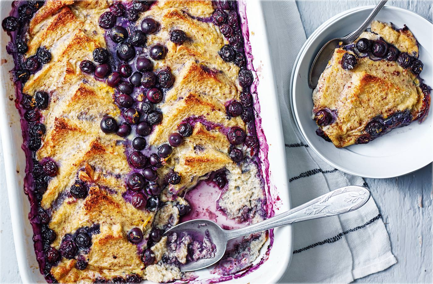 Blueberry 'bread and butter' pudding recipe