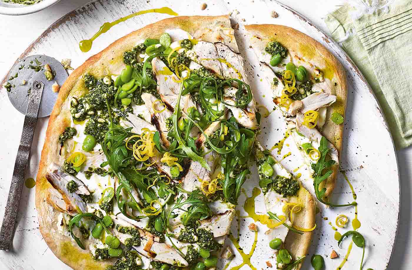 Griddled chicken, broad bean and rocket pizza