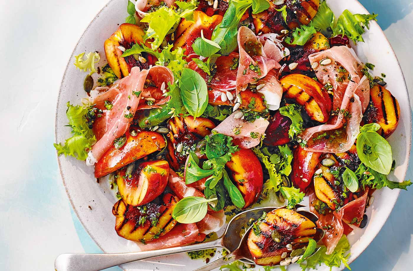 Griddled nectarine and ham salad with basil dressing recipe