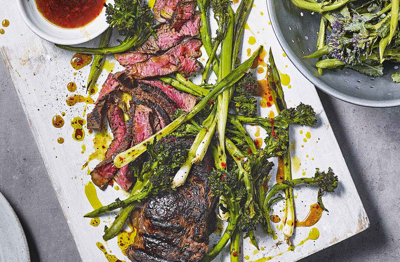 Griddled steak and purple sprouting broccoli with sticky mango sauce recipe