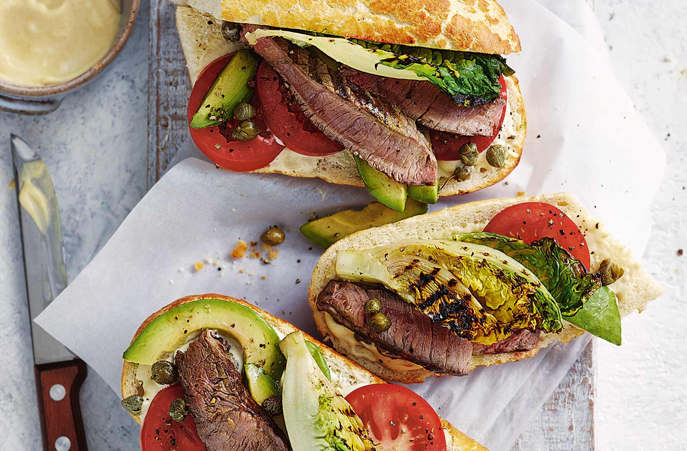 Griddled steak and charred Little Gem sandwiches recipe