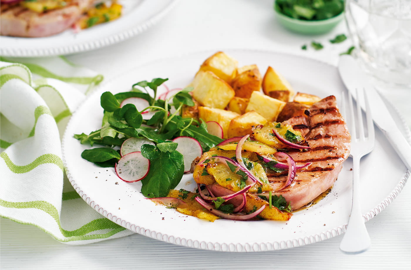 Griddled gammon steaks with pineapple salsa recipe