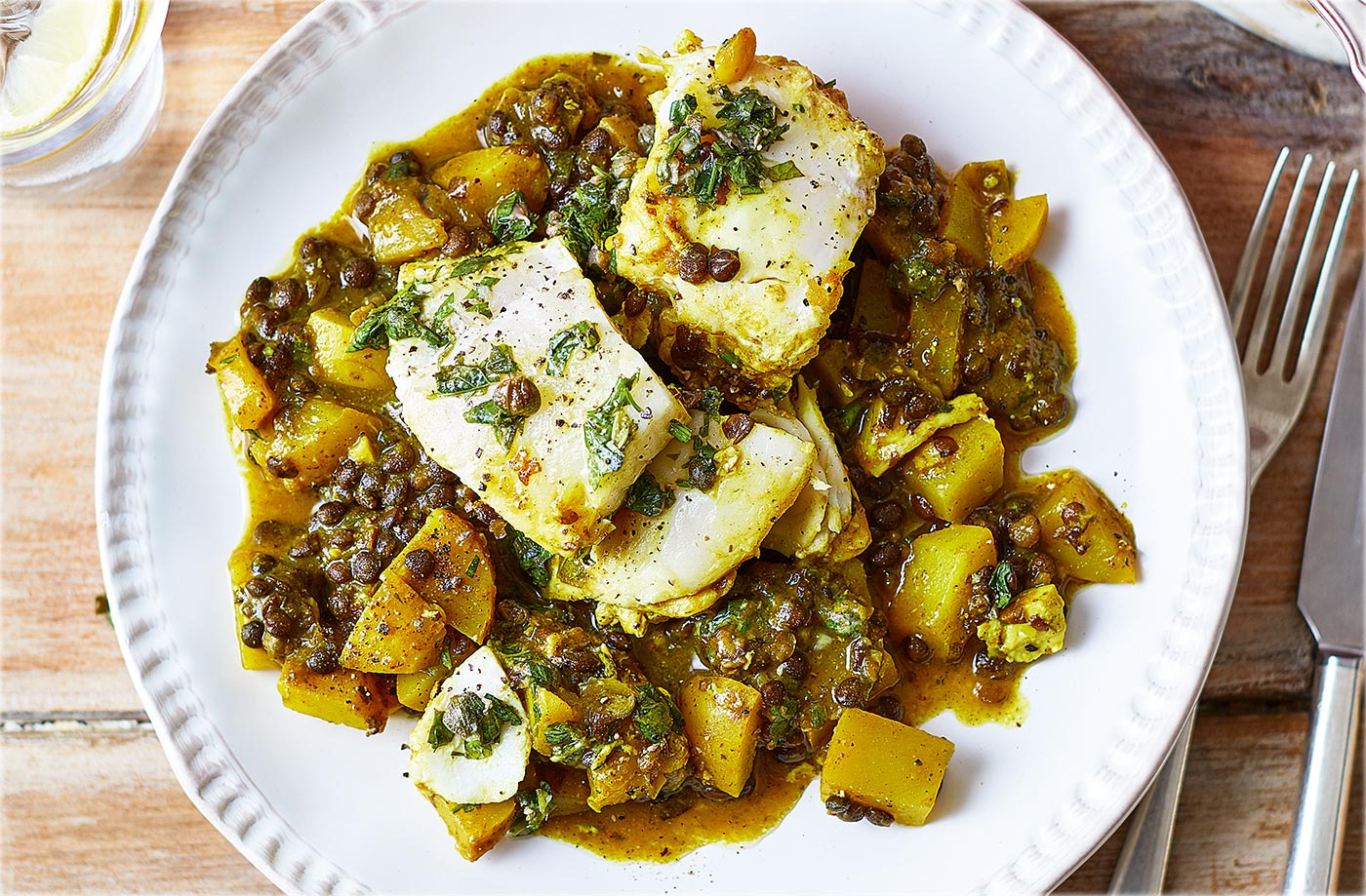 Haddock and lentil stew with green salsa recipe