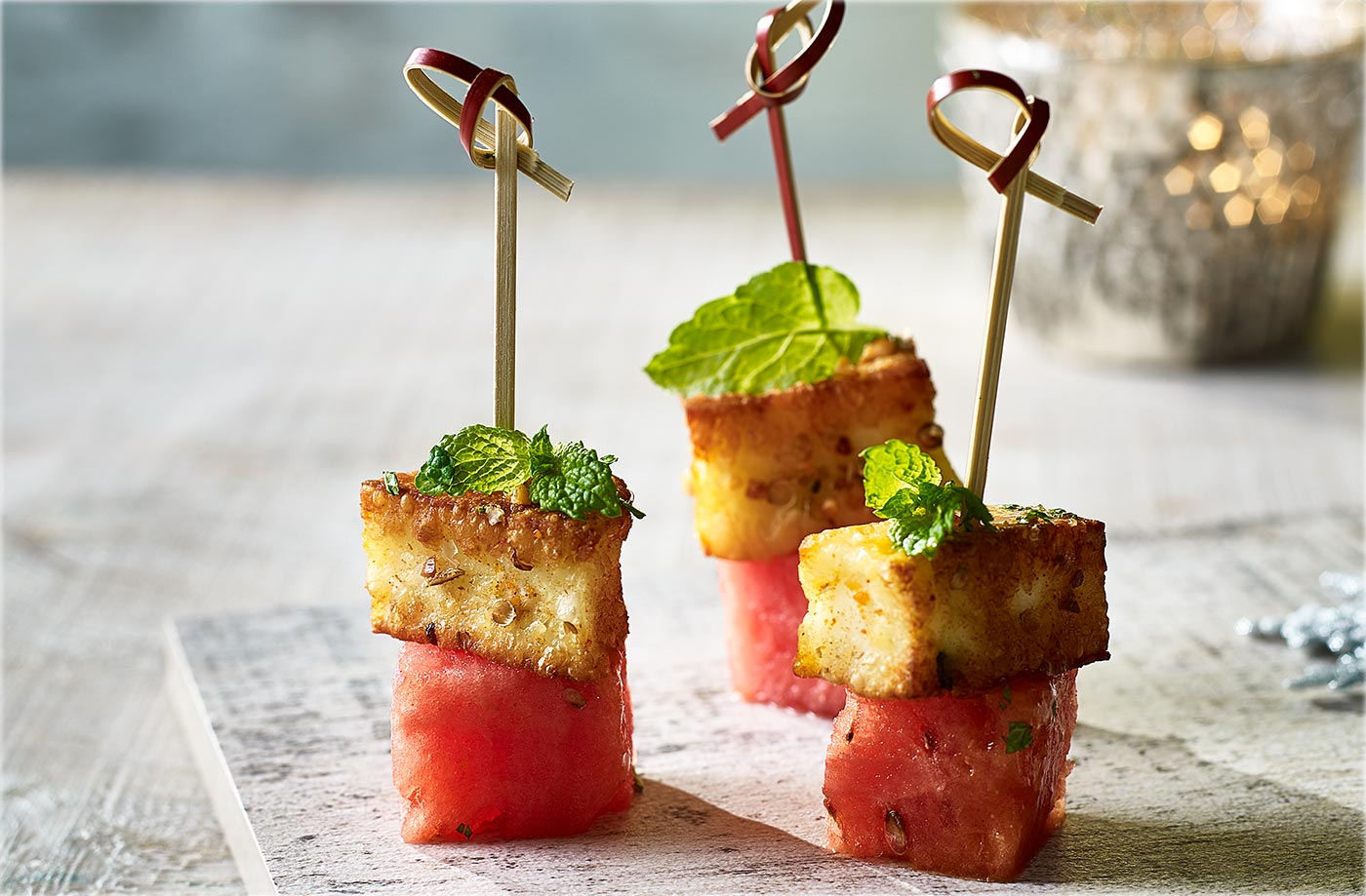 Dukkah-crusted halloumi and watermelon skewers recipe