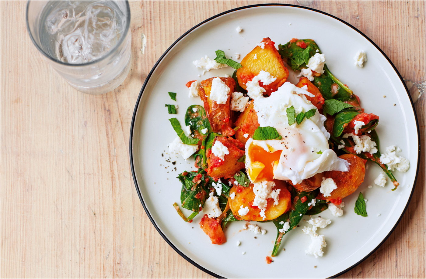 Red pepper and spinach hash recipe
