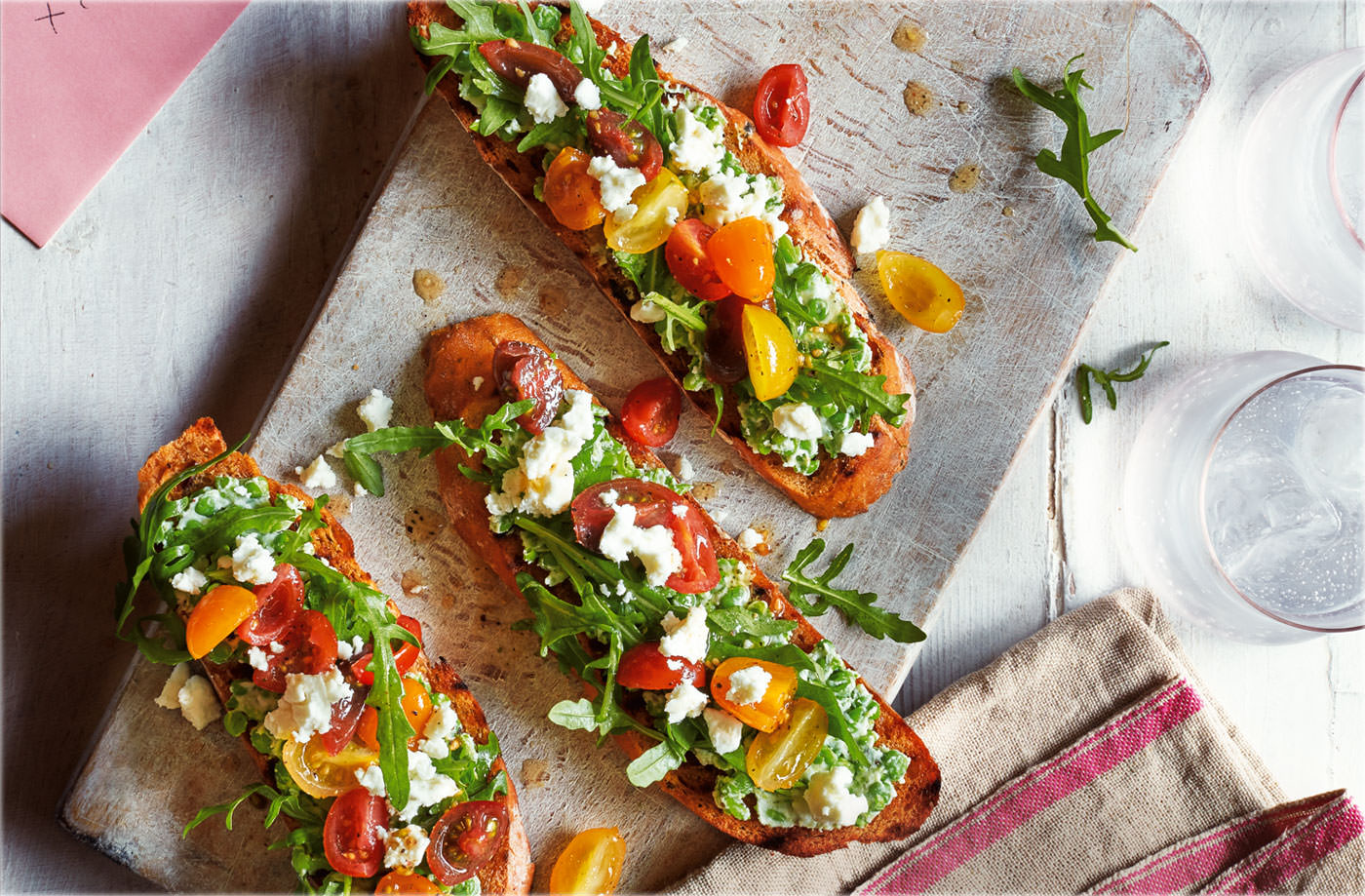 Pea, feta and tomato bruschetta recipe
