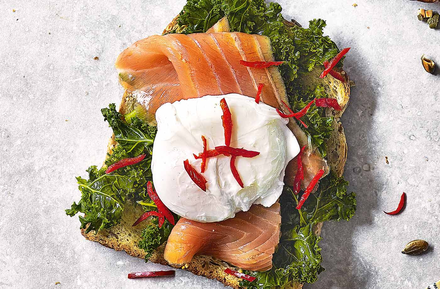Kale, poached egg and smoked salmon toast topper recipe
