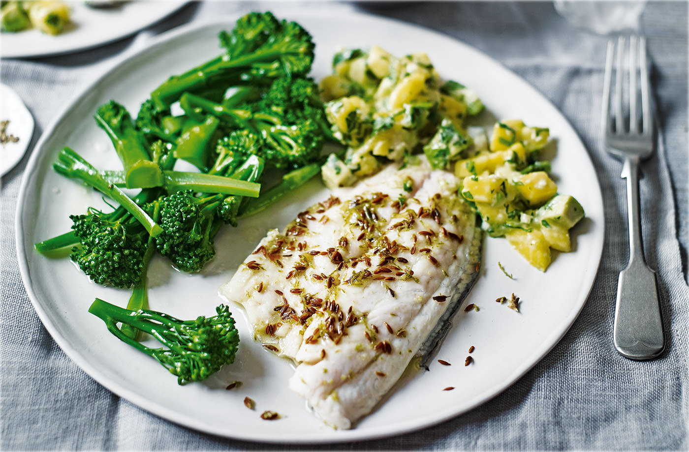Lime and cumin sea bass with mango salsa recipe