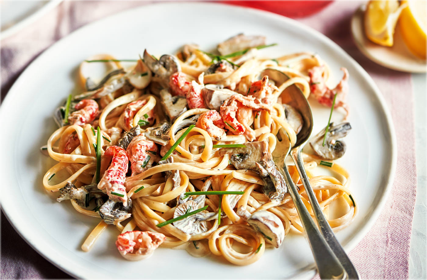 Crayfish and wild mushroom linguine recipe