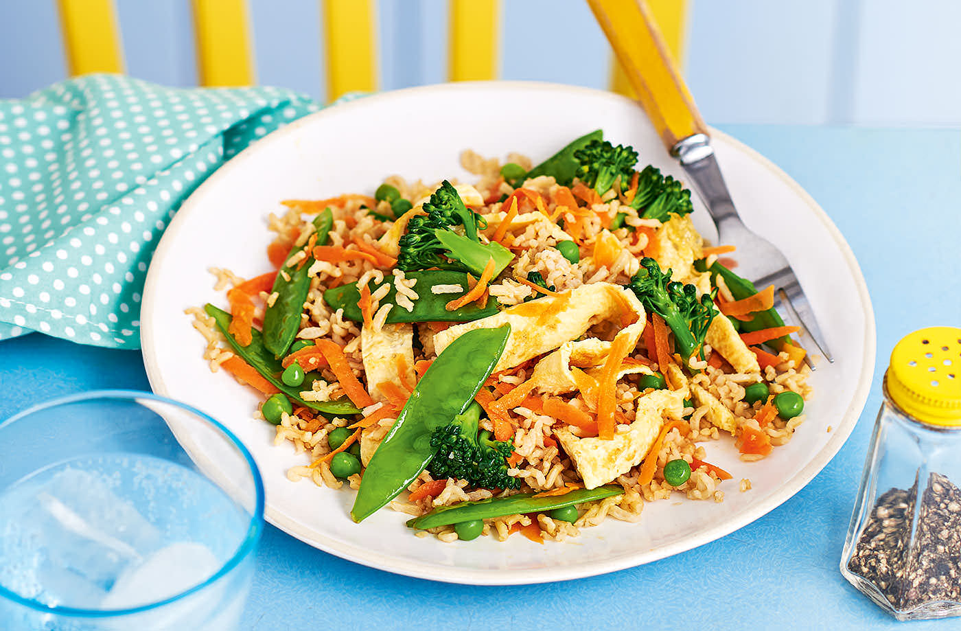 Vegetable fried rice with egg ribbons recipe