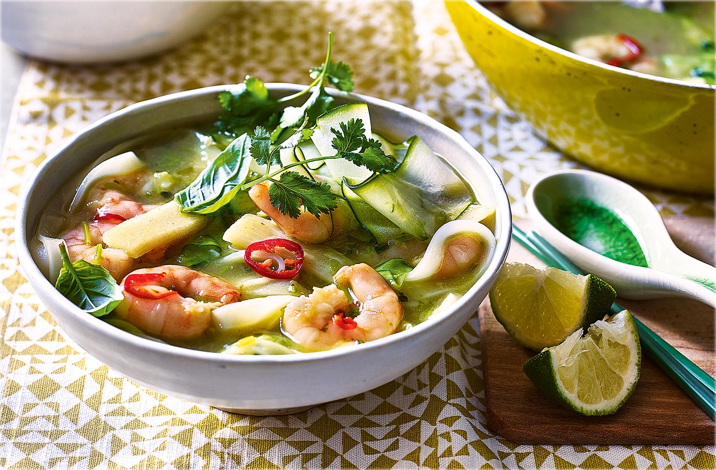 Malaysian king prawn and courgette laksa recipe