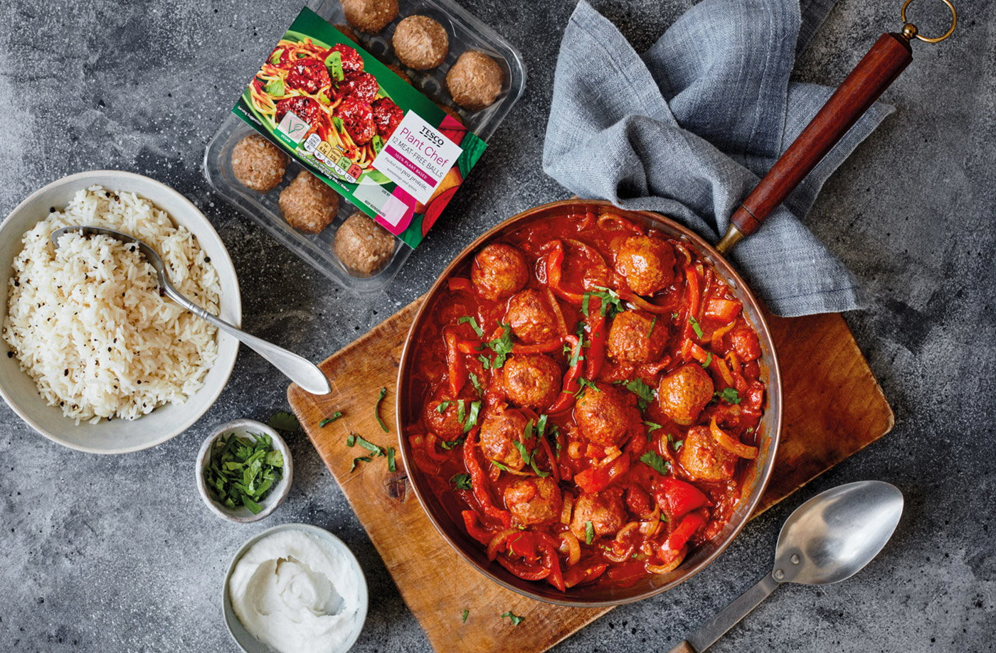Vegan meatball and tomato spiced curry recipe