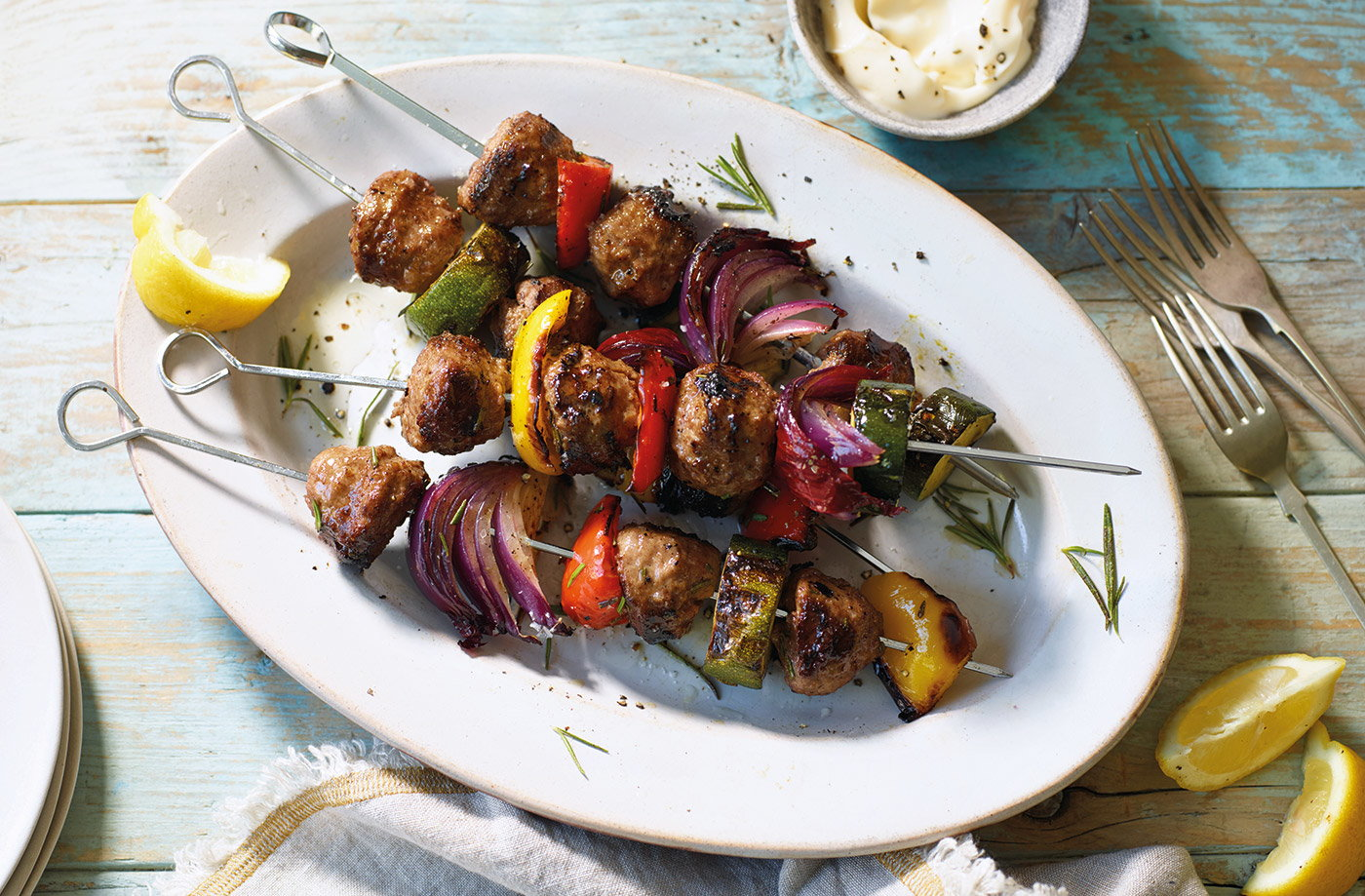 Meatball and Mediterranean vegetable kebabs recipe