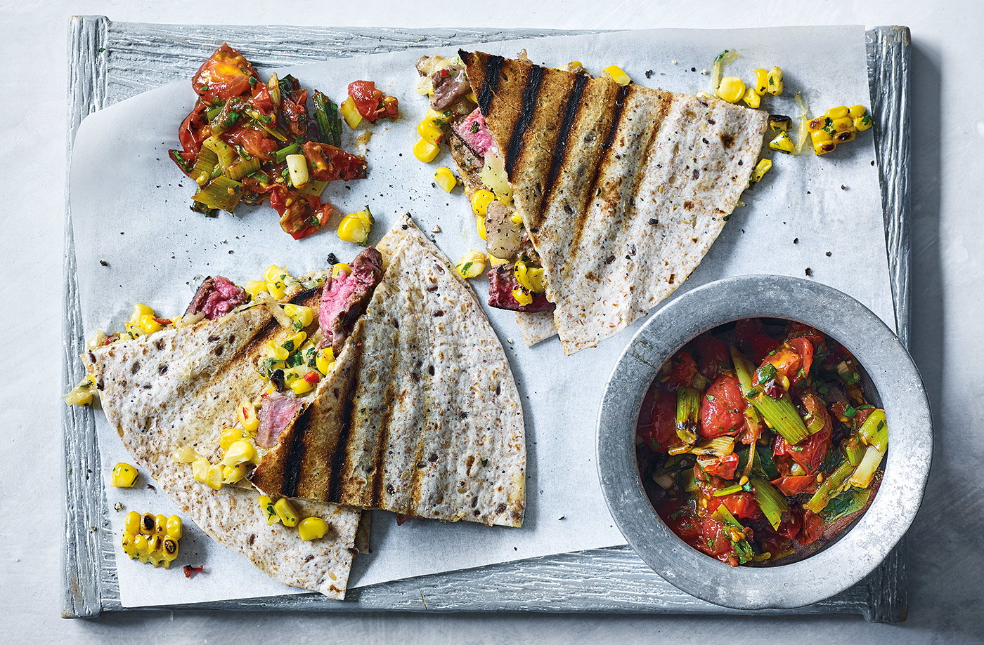 Steak quesadillas with charred tomato salsa recipe