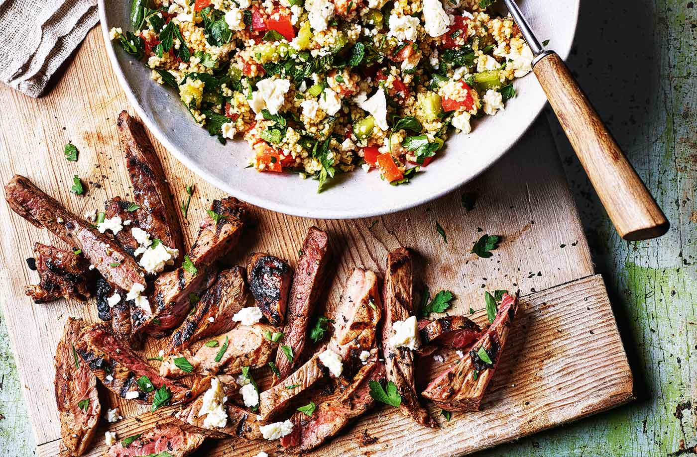 Minted lamb with couscous salad recipe