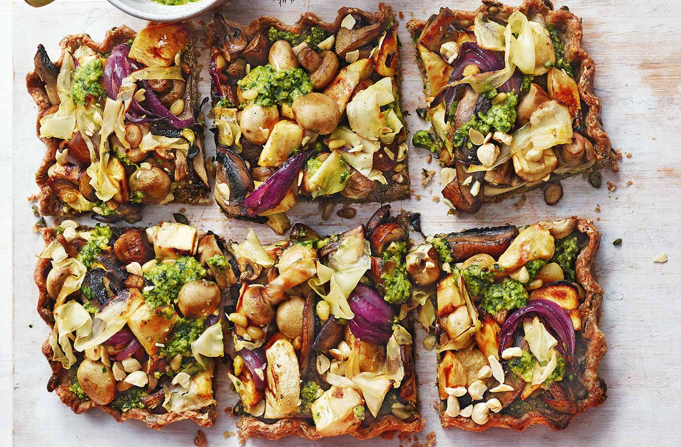 Mushroom Nut Roast Tart With Pesto