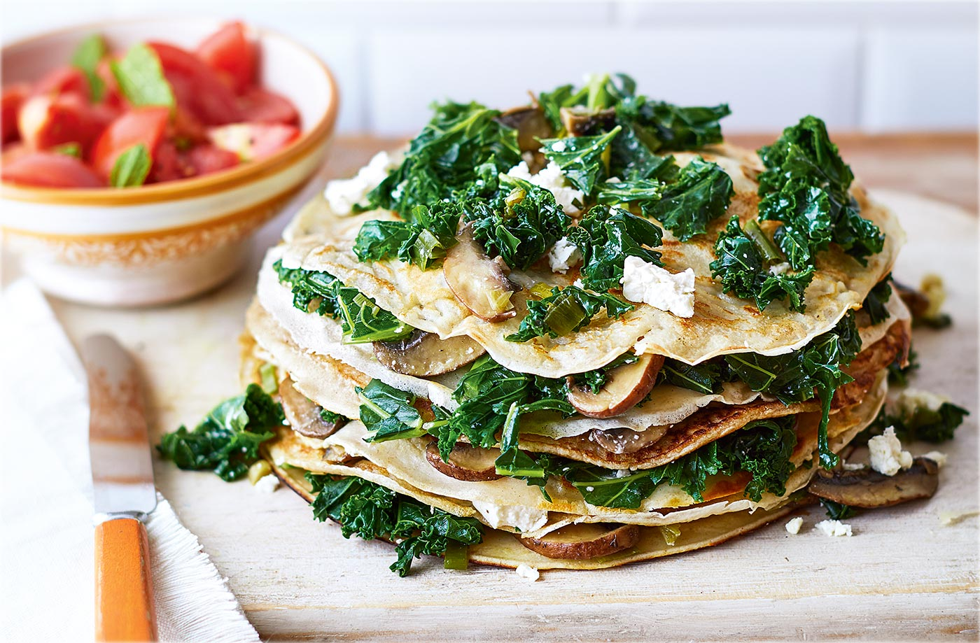 Kale and feta pancake stack recipe