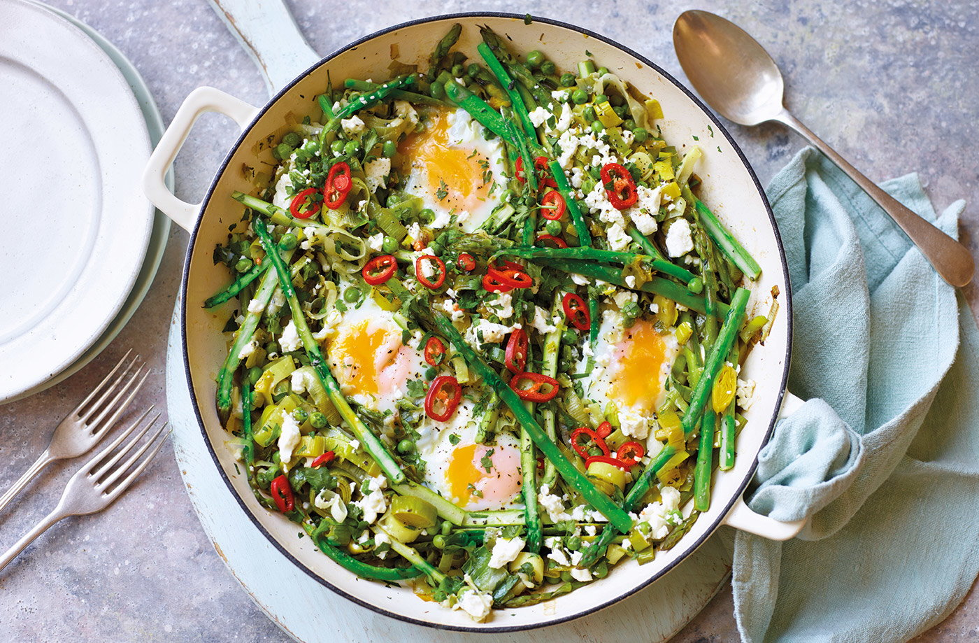 One Pot Asparagus Leeks And Eggs Recipe Tesco Real Food