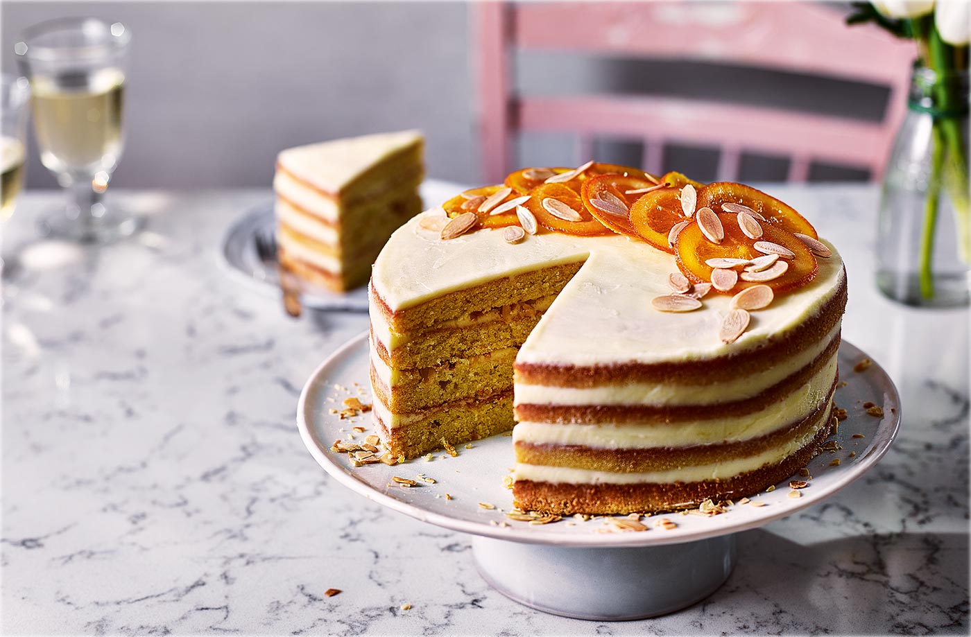 Orange cake with almond buttercream