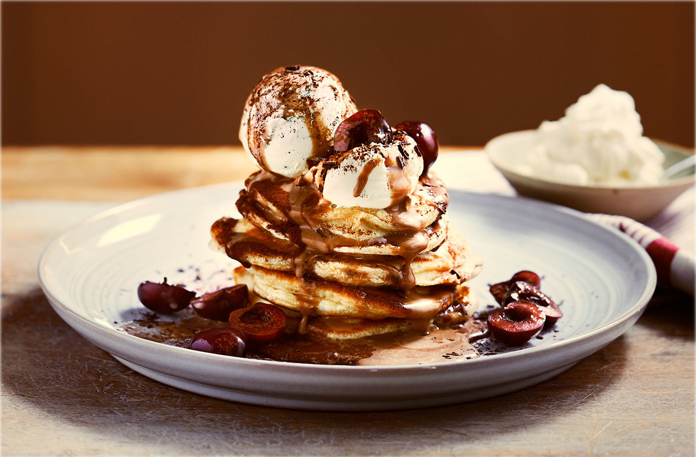 Mocha Caramel Pancakes With Cherries Tesco Real Food